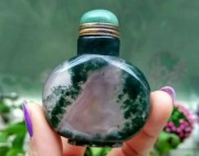 欣赏 | 这个水草玛瑙鼻烟壶不浮水,还是收了下来,难得那么美啊