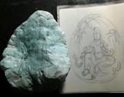 知识 |128克观自在观音像雕刻过程详解,完整湖北秦古绿松石成品全过程