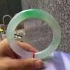 天然A货冰艳绿与粉紫春彩圆条翡翠手镯56.5MM内径风华绝代
