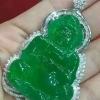 高冰满绿白金钻石豪华镶嵌天然A货翡翠大观音挂件吊坠