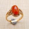 长寿珠宝!老坑种翡翠A货红蛋面镶18k金围钻戒指带证书160228