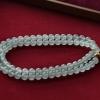【咪雅翡翠】可收藏的白冰翡翠珠链项链9.8mm
