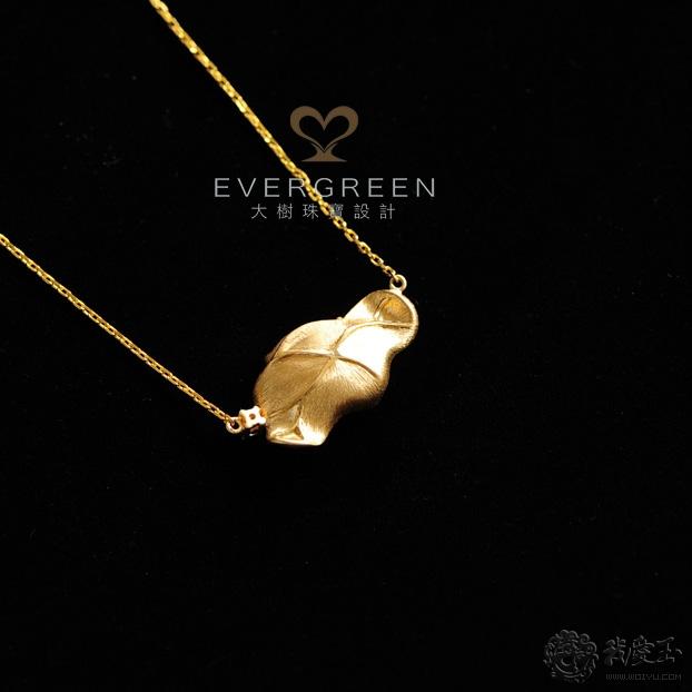 【大树珠宝设计】阳绿翡翠天鹅项链