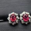奢华天然红宝石耳钉...