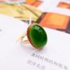 【凰上凰】和田碧玉金镶玉戒指女款18k金镶嵌玉石指环女戒