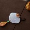 【咪雅翡翠】18k玫瑰金钻石镶嵌冰紫紫罗兰如意佩吊坠
