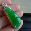 缅甸a货翡翠老坑种阳绿豆子吊坠
