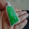 缅甸a货翡翠老坑种阳绿梅花牌吊坠