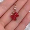日本阿卡红珊瑚 18k 金钻石吊坠 小巧精致 淘宝交易 天然无优化带证书