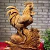 崖柏摆件:公鸡发财,雕工精湛...