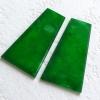 润玉楼【天然A货翡翠】满绿梯形素面平安牌镶件一对