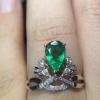 奢华高端祖母绿心形戒指...
