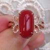 纯天然日本阿卡红珊瑚18k金钻石戒指 带证书联网可查 淘宝交易