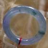 新货      1116翡翠A货细腻荧光高冰紫飘花圆条美镯57.4mm
