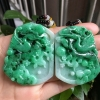 翠领珠宝天然缅甸翡翠a货正阳绿花开富贵吊坠喜上眉梢