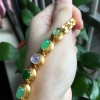 翠领珠宝天然缅甸翡翠a货冰种女士镶嵌随型蛋面套装多彩镶手链