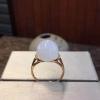 18k金镶和田白玉圆柱戒指