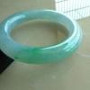 福玉缘C0428缅甸A货云顶在线娱乐网站冰种飘阳绿正装圆条手镯 圈口:57MM